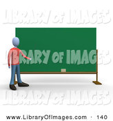Clip Art of a Gray Teacher Man Standing in Front of a Blank Chalkboard and Pointing by 3poD