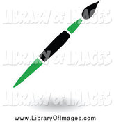 Clip Art of a Green and Black Floating Paintbrush by Cidepix