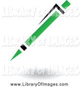 Clip Art of a Green and Black Pen Floating by Cidepix