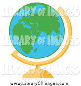 Clip Art of a Green and Blue Desk World Globe by Hit Toon