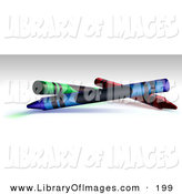 Clip Art of a Green, Blue and Red Crayons on a Shaded Background Background by Leo Blanchette