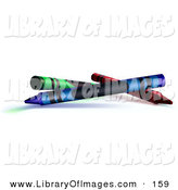 Clip Art of a Green, Blue and Red Crayons over a White Background by Leo Blanchette