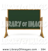 Clip Art of a Green Chalk Board with a Wood Frame, Wiped Clean and Standing in a Classroom by KJ Pargeter