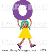 Clip Art of a Green Haired Black Girl Holding a Letter O by Prawny