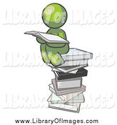 Clip Art of a Green Man Reading on a Stack of Books by Leo Blanchette
