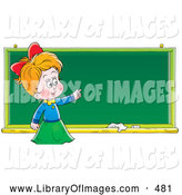 Clip Art of a Grinning Smart School Girl Standing in Front of and Pointing to a Blank Chalk Board by Alex Bannykh