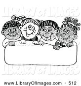 Clip Art of a Group of Diverse School Children Smiling at Each Other While Holding up a Blank Sign on White by C Charley-Franzwa