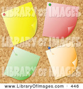 Clip Art of a Group of Four Blank Yellow, Red, Green and Orange Notes Tacked onto a Cork Bulletin Board by KJ Pargeter