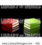 Clip Art of a Group of Red and Green School Books Stacked on a Reflective Black Background by Elaineitalia