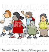 Clip Art of a Group of School Children and a Little Dog Crossing a Street Together by Djart