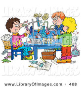 Clip Art of a Group of School Children Conducting Science Experiments on White by Alex Bannykh