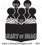 Clip Art of a Group of Silhouetted Choir or Church Members Behind an Open Book or Bible or Hymnal by Alexia Lougiaki