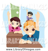 Clip Art of a Group of Smart School Children Raising Their Hands in Class by BNP Design Studio