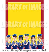 September 25th, 2013: Clip Art of a Group of Various Diverse Male and Female Students Graduating, on a Red and Yellow Stationery Background by Maria Bell