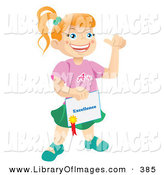 Clip Art of a Happy and Proud Bright School Child Holding a Certificate of Excellence from Her Teacher by Vitmary Rodriguez