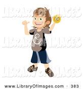 Clip Art of a Happy and Proud School Boy Holding up and Showing off His First Place Ribbon After Winning a Contest by Vitmary Rodriguez