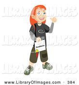 Clip Art of a Happy and Proud Skater School Girl with Red Hair, Smiling and Holding Her Certificate of Excellence for Honor Roll on White by Vitmary Rodriguez