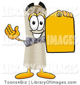 Clip Art of a Happy and Smiling Diploma Mascot Cartoon Character Holding a Yellow Sales Price Tag by Toons4Biz