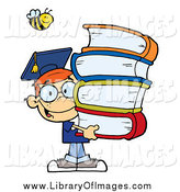 Clip Art of a Happy Bee over a Happy Red Haired Graduate School Boy Carrying a Stack of Books by Hit Toon