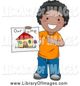 Clip Art of a Happy Black Boy Holding a Drawing of His Family Home by BNP Design Studio