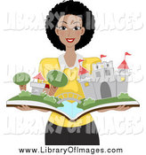 Clip Art of a Happy Black Woman Holding a Pop up Castle Book by BNP Design Studio
