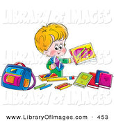 Clip Art of a Happy Blond Boy Holding up His Bright Colorful School Supplies by Alex Bannykh