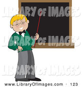 Clip Art of a Happy Blond School Teacher Boy in a Green Sweater, Holding a Red Pointer Stick up to a Blank Blackboard in a Classroom by Maria Bell