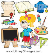 October 26th, 2014: Clip Art of a Happy Blond White School Girl and Items by Visekart