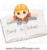 Clip Art of a Happy Boy Standing on an Open Book with Back to School Writing by BNP Design Studio