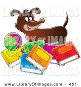 Clip Art of a Happy Brown Dog Standing with a Ball, Behind Bright Colorful Books by Alex Bannykh