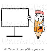 Clip Art of a Happy Cartoon Pencil Standing Beside a Blank Board by Hit Toon