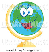 Clip Art of a Happy Desk Globe Smiling by Hit Toon