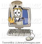 Clip Art of a Happy Diploma Mascot Cartoon Character Waving from Inside a Computer Screen by Toons4Biz