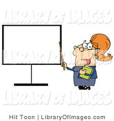 Clip Art of a Happy Female Teacher Pointing to a Blank Board with a Stick by Hit Toon