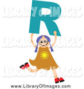 Clip Art of a Happy Girl Running with Letter R by Prawny