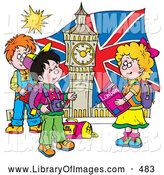 Clip Art of a Happy Group of Children Touring London, Admiring Big Ben by Alex Bannykh