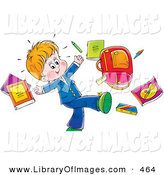 Clip Art of a Happy Little Boy Tossing His School Supplies into the Air on White by Alex Bannykh