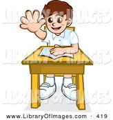 Clip Art of a Happy Little School Boy Sitting at His Desk with a Book and Raising His Hand to Ask or Answer a Question by NoahsKnight