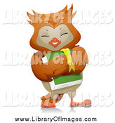Clip Art of a Happy Owl Student Carrying a Book by BNP Design Studio