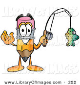 Clip Art of a Happy Pencil Mascot Cartoon Character Holding a Fish on a Fishing PoleHappy Pencil Mascot Cartoon Character Holding a Fish on a Fishing Pole by Toons4Biz