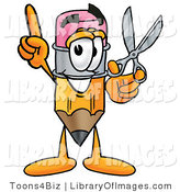 Clip Art of a Happy Pencil Mascot Cartoon Character Holding a Pair of Scissors by Toons4Biz