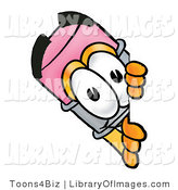 Clip Art of a Happy Pencil Mascot Cartoon Character Peeking Around a Corner by Toons4Biz