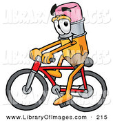 Clip Art of a Happy Pencil Mascot Cartoon Character Riding a Bicycle by Toons4Biz