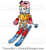 Clip Art of a Happy Pencil Mascot Cartoon Character Skiing Downhill by Toons4Biz