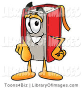 Clip Art of a Happy Red Book Mascot Cartoon Character Pointing at the Viewer by Toons4Biz