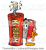 Clip Art of a Happy Red Book Mascot Cartoon Character Standing with a Lit Stick of Dynamite by Toons4Biz