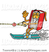 Clip Art of a Happy Red Book Mascot Cartoon Character Waving While Water Skiing by Toons4Biz