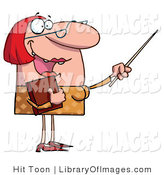 Clip Art of a Happy Red Haired Teacher in Glasses, Holding a Book and Gesturing with a Pointer Stick by Hit Toon