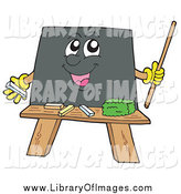 Clip Art of a Happy School Blackboard Holding a Pointer Stick by Visekart
