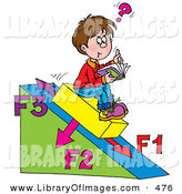 June 27th, 2013: Clip Art of a Happy School Boy Sitting on a Slanted Triangle, Doing His Math Homework by Alex Bannykh